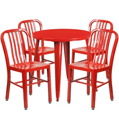 Metal Indoor/Outdoor 5 Piece Dining Set Finish: Red