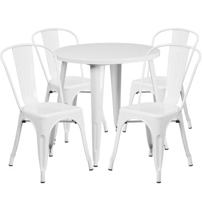 Metal Indoor/Outdoor 5 Piece Dining Set Finish: White