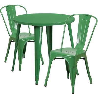 Metal Indoor/Outdoor 3 Piece Bistro Set Finish: Green