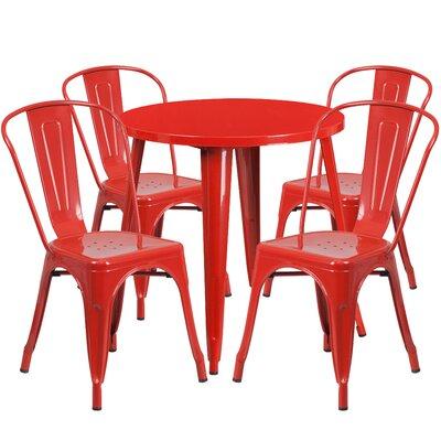 Metal Indoor/Outdoor 5 Piece Dining Set Finish: Red
