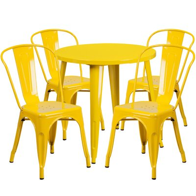 Metal Indoor/Outdoor 5 Piece Dining Set Finish: Yellow