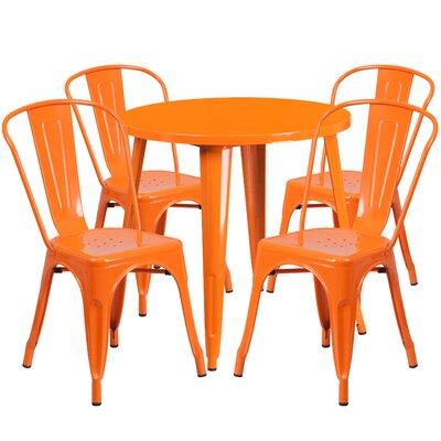Metal Indoor/Outdoor 5 Piece Dining Set Finish: Orange