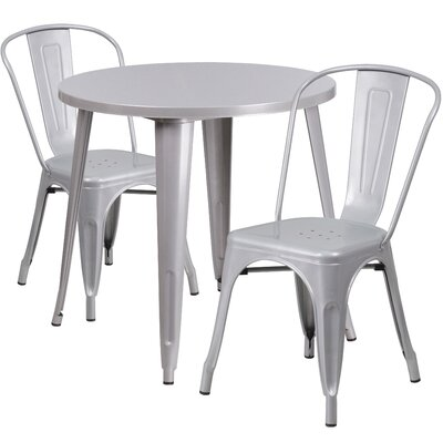 Metal Indoor/Outdoor 3 Piece Bistro Set Finish: Silver