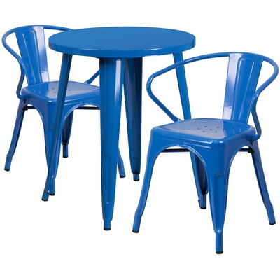 Metal Indoor/Outdoor 3 Piece Bistro Set Finish: Blue, Table Size: 29.50 H x 30 W x 30 L