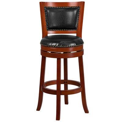30 Swivel Bar Stool with Cushion Finish / Upholstery: Light Cherry Wood / Black Leather
