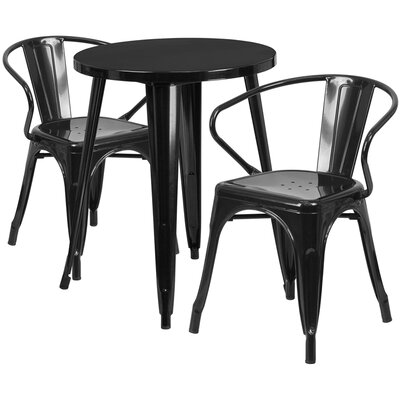 Metal Indoor/Outdoor 3 Piece Bistro Set Finish: Black, Table Size: 29 H x 24 W x 24 L