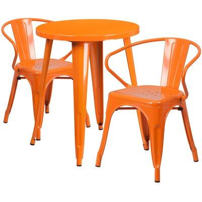 Metal Indoor/Outdoor 3 Piece Bistro Set Finish: Orange, Table Size: 29.50 H x 30 W x 30 L