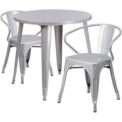 Metal Indoor/Outdoor 3 Piece Bistro Set Finish: Silver, Table Size: 29.50 H x 30 W x 30 L