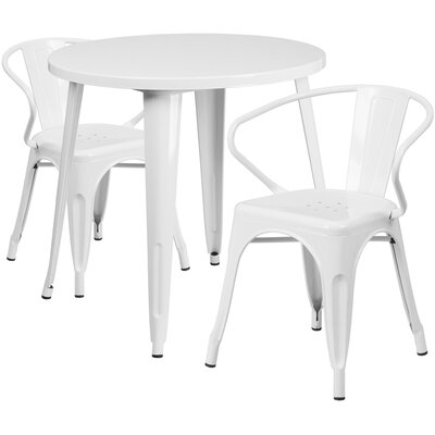 Metal Indoor/Outdoor 3 Piece Bistro Set Finish: White, Table Size: 29.50 H x 30 W x 30 L