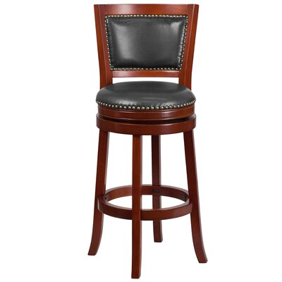 30 Swivel Bar Stool with Cushion Finish / Upholstery: Dark Cherry Wood / Walnut Leather
