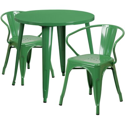 Metal Indoor/Outdoor 3 Piece Bistro Set Finish: Green, Table Size: 29 H x 24 W x 24 L