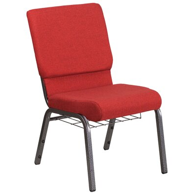 MacArthur 18.5 Guest Chair Seat Color: Red, Finish: Silver