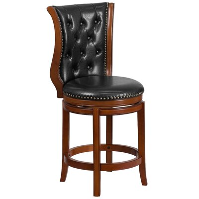 Zapantis 26 Swivel Bar Stool Finish: Brandy, Upholstery: Black