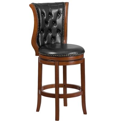 30'' Swivel Bar Stool Finish: Dark Chestnut, Upholstery: Hepatic