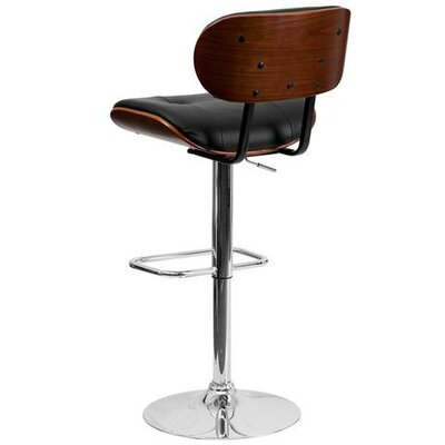 Walnut Bentwood Adjustable Height Swivel Bar Stool