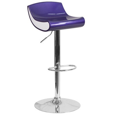 Brescia Adjustable Height Swivel Bar Stool Upholstery: Blue Purple