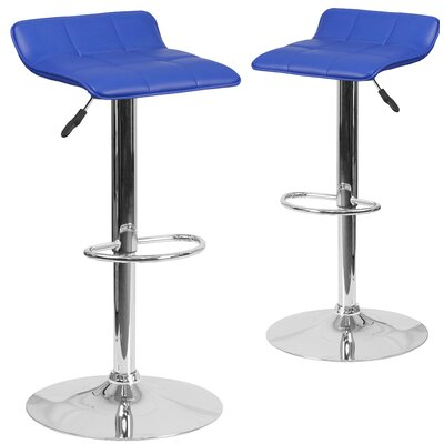 Nuno Adjustable Height Swivel Bar Stool Upholstery: Blue