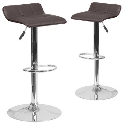 Nuno Adjustable Height Swivel Bar Stool Upholstery: Brown