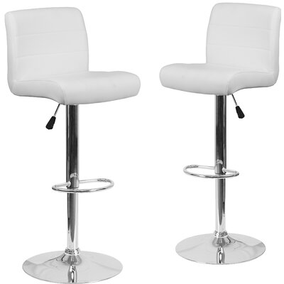 Nusbaum Adjustable Height Swivel Bar Stool Upholstery: White