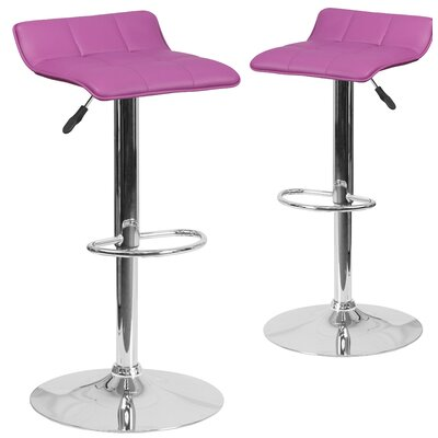 Nuno Adjustable Height Swivel Bar Stool Upholstery: Purple