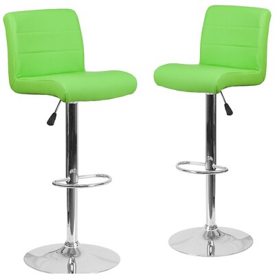 Nusbaum Adjustable Height Swivel Bar Stool Upholstery: Green