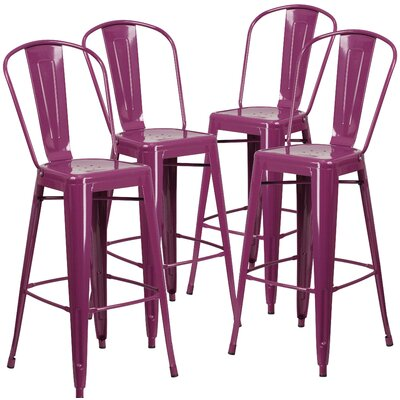 30 inch Bar Stool (Set of 4) Finish: Purple