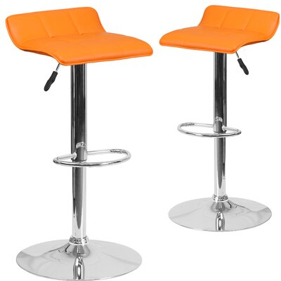 Nuno Adjustable Height Swivel Bar Stool Upholstery: Orange