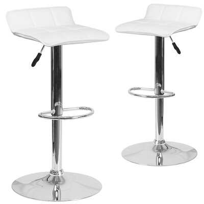 Nuno Adjustable Height Swivel Bar Stool Upholstery: White