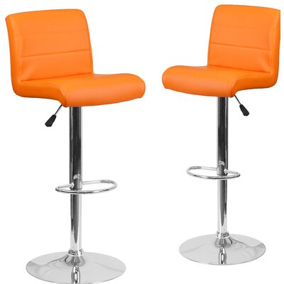 Nusbaum Adjustable Height Swivel Bar Stool Upholstery: Orange