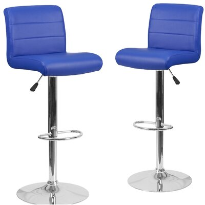 Nusbaum Adjustable Height Swivel Bar Stool Upholstery: Blue