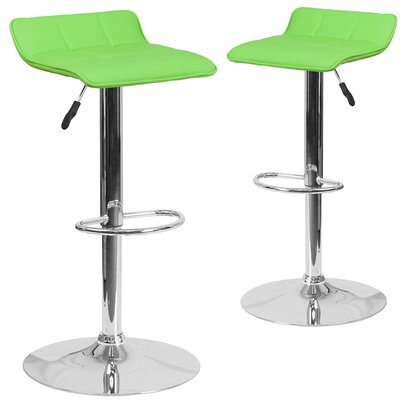 Nuno Adjustable Height Swivel Bar Stool Upholstery: Green