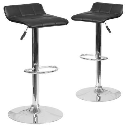 Nuno Adjustable Height Swivel Bar Stool Upholstery: Black
