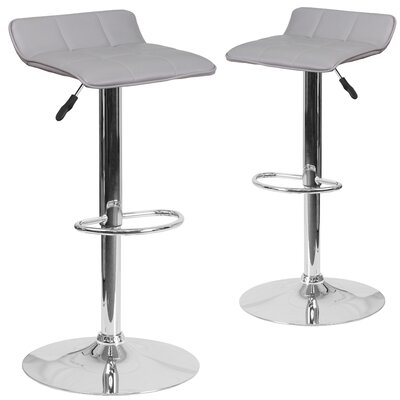 Nuno Adjustable Height Swivel Bar Stool Upholstery: Gray