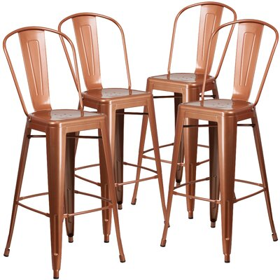30 inch Bar Stool (Set of 4) Finish: Copper