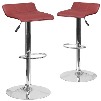 Nuno Adjustable Height Swivel Bar Stool Upholstery: Burgundy