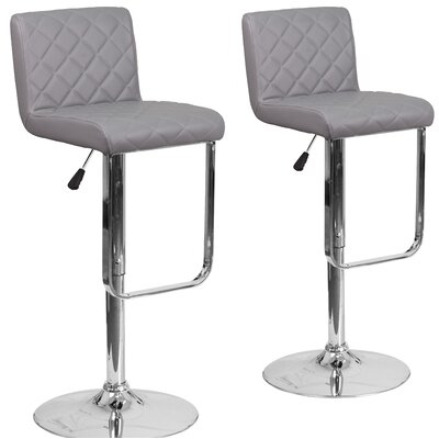 Nuzzo Adjustable Height Swivel Bar Stool Upholstery: Gray