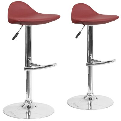 Nyberg Adjustable Height Swivel Bar Stool Upholstery: Burgundy