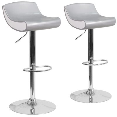 Greensboro Adjustable Height Swivel Bar Stool Finish: Silver