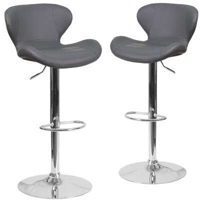Nutt Adjustable Height Swivel Bar Stool Upholstery: Gray