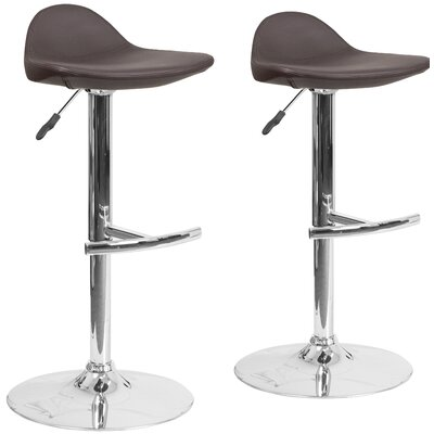 Nyberg Adjustable Height Swivel Bar Stool Upholstery: Brown