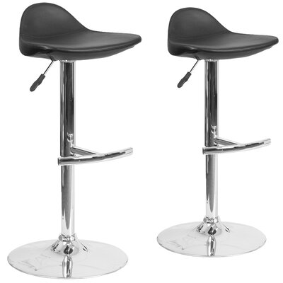 Nyberg Adjustable Height Swivel Bar Stool Upholstery: Black