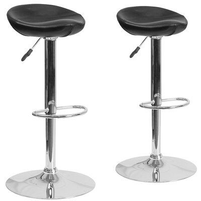 Nutting Adjustable Height Swivel Bar Stool Upholstery: Black
