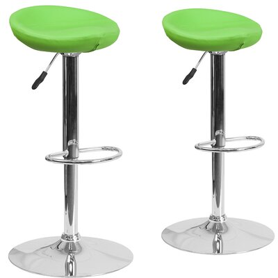 Nutting Adjustable Height Swivel Bar Stool Upholstery: Green