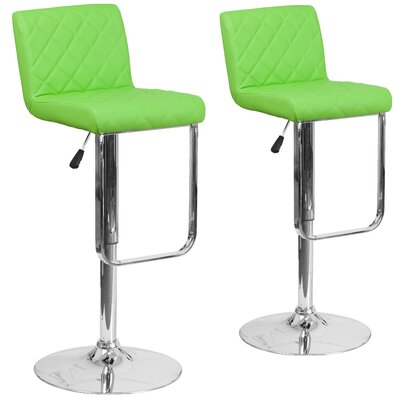 Nuzzo Adjustable Height Swivel Bar Stool Upholstery: Green