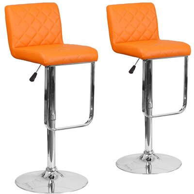 Nuzzo Adjustable Height Swivel Bar Stool Upholstery: Orange