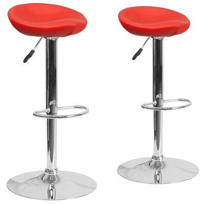 Nutting Adjustable Height Swivel Bar Stool Upholstery: Red