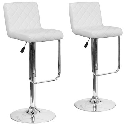 Nuzzo Adjustable Height Swivel Bar Stool Upholstery: White