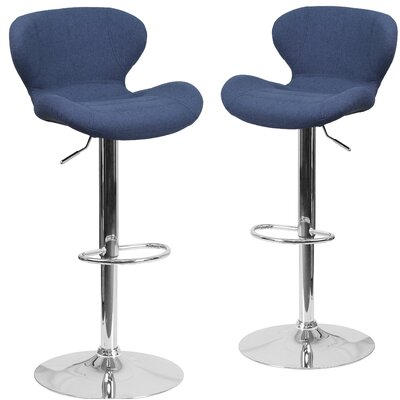 Nuttall Adjustable Height Swivel Bar Stool Upholstery: Blue