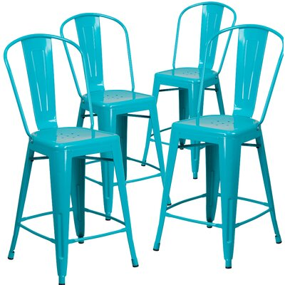 Haefner 24 Bar Stool Finish: Crystal Blue