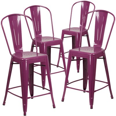 Haefner 24 Bar Stool Finish: Purple